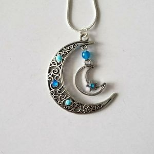 Blue agate 925 silver moon necklace